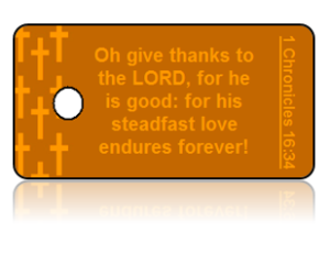 1 Chronicles 16:34 Holiday Scripture Orange Key Tags