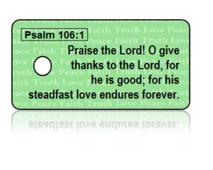 Psalm 106:1 Holiday Scripture Green Key Tags
