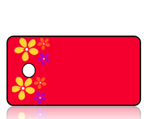 Create Design Key Tags Yellow Purple Orange Flowers Red Background