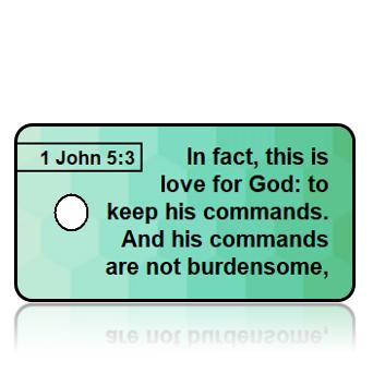 ScriptureTagA57 - NIV - 1 John 5 vs 3 - Green Hexagon Pattern