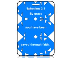 Ephesians 2:8 Bible Scripture Bag Tag