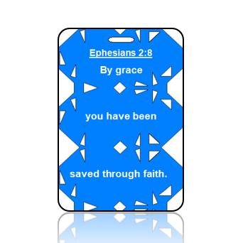 BagTagS02BBOBP - ESV - Ephesians 2 vs 8 - Blue Geometric Retro Modern