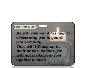 Luke 4:10-11 Bible Scripture Bag Tag