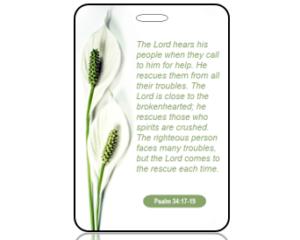 Psalm 34:17-19 Bible Scripture Bag Tag