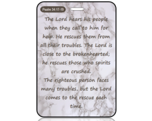 Psalm 34:17-19 Bible Scripture Marble Bag Tag
