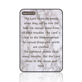 BagTagS18BBOBP - NLT - Psalm 34 vs 17 - 19 - Marble Taupe and White
