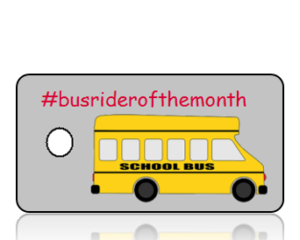 Bus Rider of the Month Hashtag Key Tag