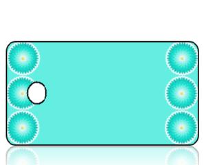 Create Design Key Tags Aqua Chrysanthemum Border
