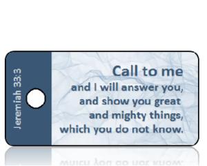 Jeremiah 33:3 Bible Scripture Sheer Blue Cloth Key Tags