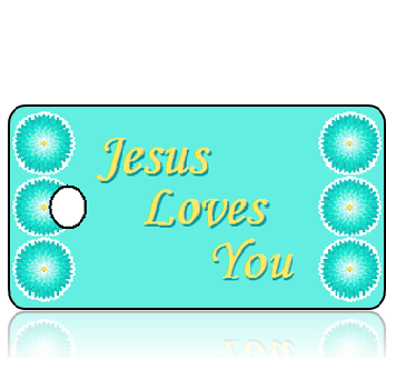 Love14 - Jesus Loves You Key Tags - Monotype Corsiva 24 Size Font