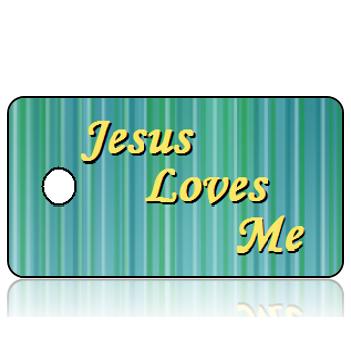 Love15 - Jesus Loves Me Key Tags - Monotype Corsiva 28 Size Font