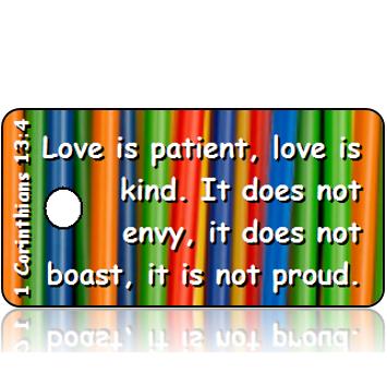 ScriptureTagD124 - NIV - 1 Corinthians 13 vs 4 - Colorful Straws