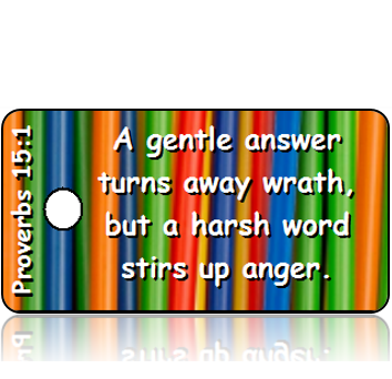 ScriptureTagD127 - NIV - Proverbs 15 vs 1 - Colorful Straws