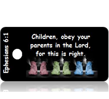 ScriptureTagD129 - NIV - Ephesians 6 vs 1 - Pastel Shoes