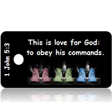 ScriptureTagD130 - NIV - 1 John 5 vs 3 - Pastel Shoes