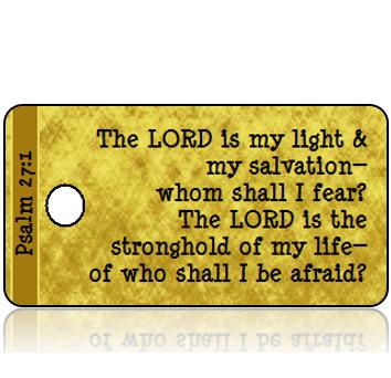 ScriptureTagD136 - ESV - Psalm 27 vs 1 - Gold Foil Paper