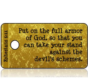 ScriptureTagD137 - NIV - Ephesians 6 vs 11 - Gold Foil Paper