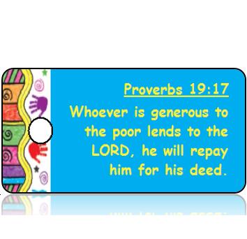 ScriptureTagD150 - ESV - Proverbs 19 vs 17 - Colorful Handprint Border