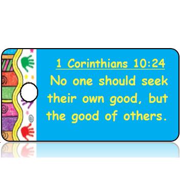ScriptureTagD152 - NIV - 1 Corinthians 10 vs 24 - Colorful Handprint Border