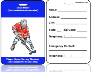 Sports Bag Tag Hockey Player Contact Information