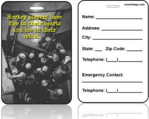 Sports Bag Tag Contact Information Hockey Team Quote