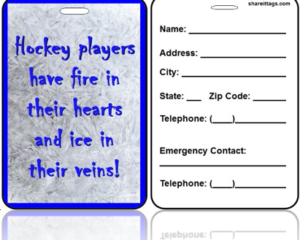 Sports Bag Tag Ice Hockey Quote Contact Information