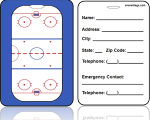Sports Bag Tag Hockey Ice Rink Contact Information