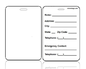 Create Design Bag Tag With Contact Information on Back