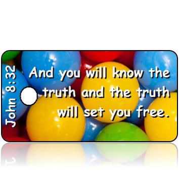 ScriptureTagD142 - ESV - John 8 vs 32 - Primary Color Balls