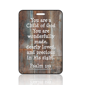BagTagS21BBOBP - Psalms 139 - Reclaimed Wood Brown Blue Hues Design BAG Tag