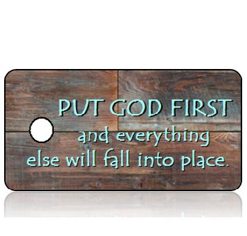 Inspiration21 - Put God First - Reclaimed Wood Brown Blue Hues Design Key Tag