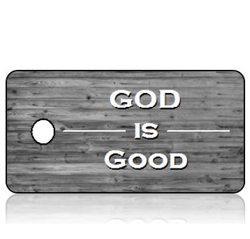 Inspiration22 - GOD is Good - Reclaimed Wood Medium Gray Hues Design Key Tag
