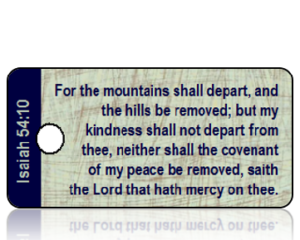 Isaiah 54 vs 10 - KJV - Blue Brown Scratch Scripture Tag