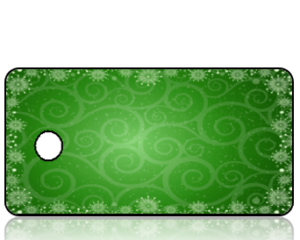 Create Design Holiday Key Tag Green Background with Snowflakes