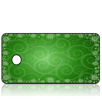 ScriptureTagBlankC49 - Green Background with Snowflakes