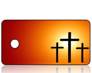 ScriptureTagBlankE27 - Crosses on Orange Background
