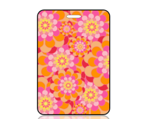 Create Design Pink Orange Mod Flowers Bag Tag