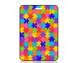Create Design Multi Color Puzzle Pieces Graphic Bag Tag