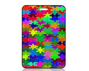 Create Design Multi Color Puzzle Pieces Bright Bag Tag