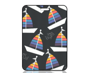 Create Design Sailboats on Black Background Bag Tag