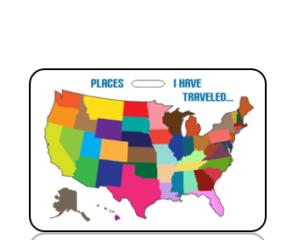 Create Design Places I Have Traveled USA Map Bag Tag