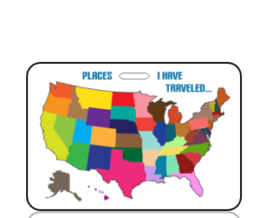 Create Design Places I Have Traveled USA Map Bag Tag