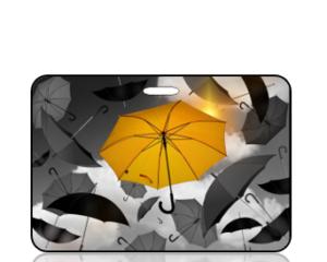 Create Design Black White Yellow Umbrellas Bag Tag