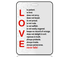 Love is Patient White Gray Geo Grid Scripture Bag Tag