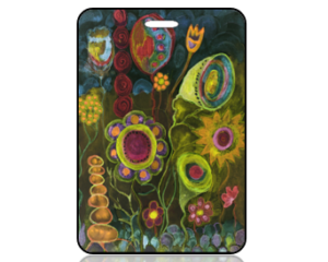 Create Design Whimsical Flowers Chalk Drawing Bag Tag