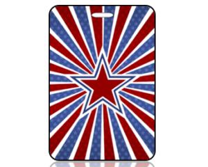 Create Design Patriotic Red White Blue Star Bag Tag