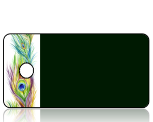 Create Design Green Background with Peacock Feather Border Key Tag