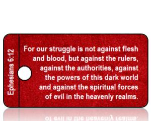 Ephesians 6 vs 12 NIV Red Velvet Scripture Tag