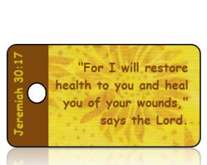 Jeremiah 30 vs 17 Golden Sunflowers NKJV Scripture Tag