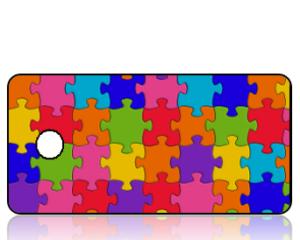 Create Design Colorful Puzzle Pieces Key Tag